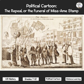Political Cartoon: The Repeal, or the Funeral of Miss-Ame Stamp