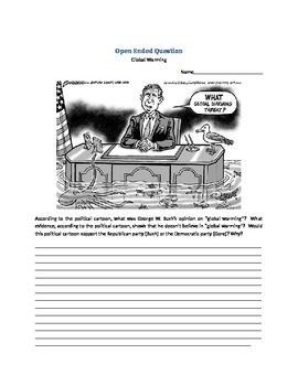 Political Cartoon on Global Warming With Open Ended Question