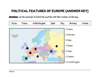 FREEBIE: Political Features of Europe (Worksheet)