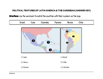 FREEBIE: Political Features of Latin America & the Caribbean (Worksheet)