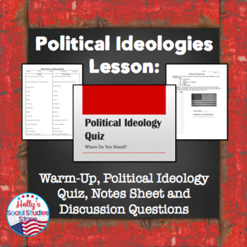 Political Ideologies Lesson: Ideology Quiz, Notes Sheet, Discussion Questions