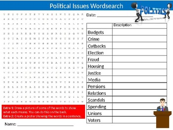 Political Issues Wordsearch Sheet Starter Activity Keywords Politics Government