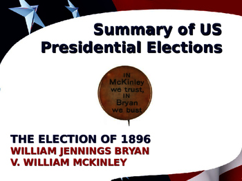 US Presidential Elections - Election of 1896 - McKinley