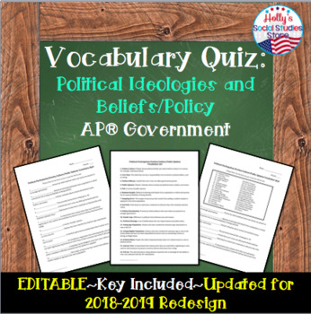 Political Ideologies and Beliefs/Policy Vocab Quiz: AP® Government(UPDATED 2019)