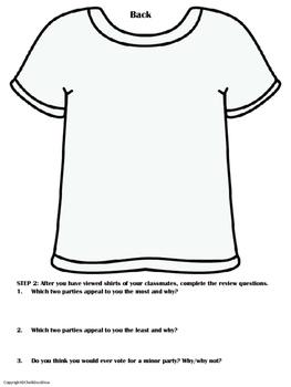 Political Parties – Design a T-Shirt Activity (Minor/Third Parties) - CIVICS