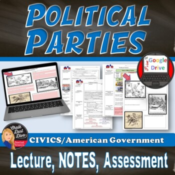 Political Parties Lecture and Cartoon Analysis (Civics)