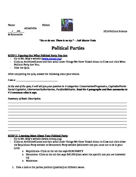 Political Parties Lesson Plan and Project