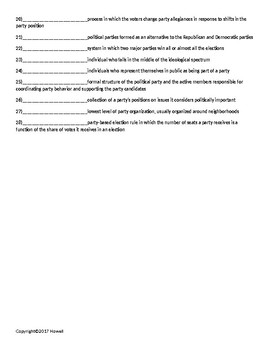 Political Parties Quiz or Worksheet for American Government