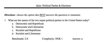 Political Parties Test/ Assessment SS.7.C.2.8