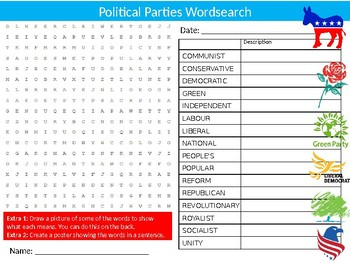Political Parties Wordsearch Sheet Starter Activity Keywords Cover Government
