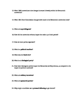 Political Parties and Interest Groups Short Answer Worksheets