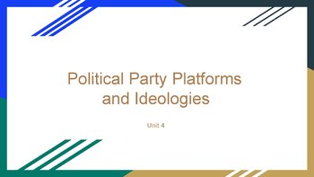 Political Party Platforms and Ideologies PowerPoint, Guided and Completed Notes