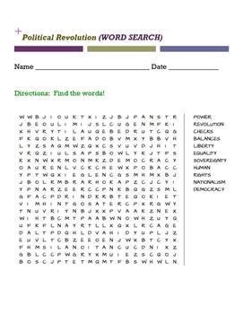 Political Revolution Word Search