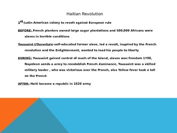 Political Revolutions-America, France, Haiti