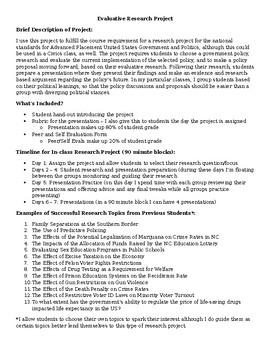 Political Science/Applied Civic Research Project (AP US Government and Politics)