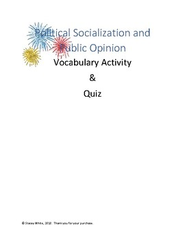 Political Socialization and Public Opinion Vocabulary Activity