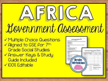 Political Systems of Africa Assessment (Editable)