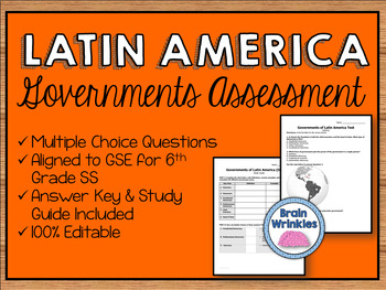 Political Systems of Latin America Assessment (Editable)