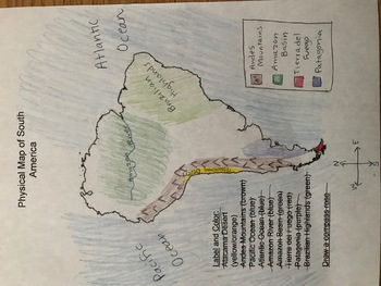 Political and Physical Map of South America by Mrs in the Middle