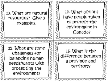 Political and Physical Regions of Canada Task Cards