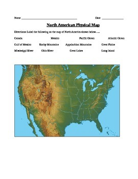 GeographyPolitical And Physical US Map Worksheets TpT - Us map with geographical features