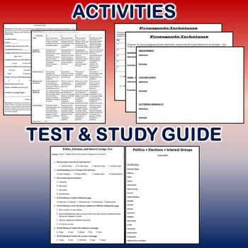 Politics, Elections and Interest Groups Activity *Bundle* (Government)