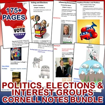 Politics, Elections and Interest Groups Cornell Notes *Bundle* (Government)