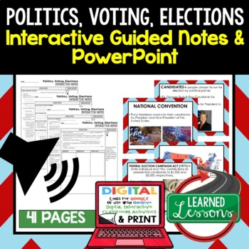 Politics, Voting, Elections Guided Notes and PowerPoints BUNDLE, Google & Print