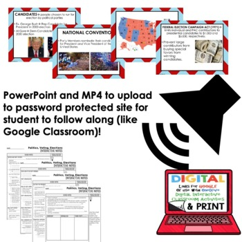 Politics, Voting, Elections Guided Notes and PowerPoint, Google & Print