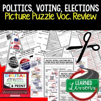 Politics, Voting, Elections Picture Puzzle Unit Review, Study Guide, Test Prep