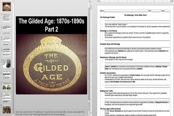 Politics of The Gilded Age Powerpoint AND Notes Worksheet