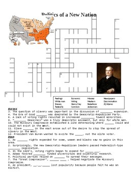 Politics of the New Nation after 1812 Crossword or Web Quest