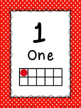 Polk-a-dot Number Posters (1-30) with Ten Frames