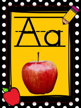 Polka Black and Yellow Pencil Apple Theme Alphabet Posters with Real Pictures