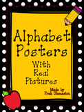 Polka Black and Yellow Pencil Apple Theme Alphabet Posters