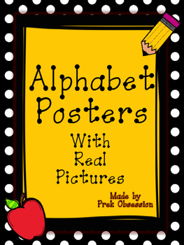 Polka Black and Yellow Pencil Apple Theme Alphabet Posters