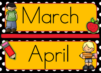 Polka Black and Yellow Pencil Apple Theme Months and Days