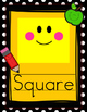 Polka Black and Yellow Pencil Apple Theme Shape Posters