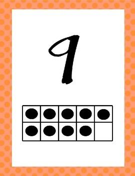 Polka Dot 0 - 20 Number Line with Ten Frames