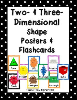 Polka Dot 2 and 3-D Shape Posters & Flash Cards