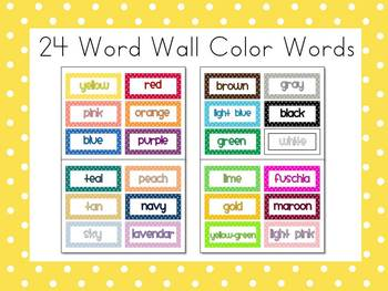 polka dot 24 word wall color words free by first class teacher resources. Black Bedroom Furniture Sets. Home Design Ideas