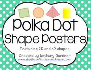 Polka Dot 2D and 3D Shape Posters