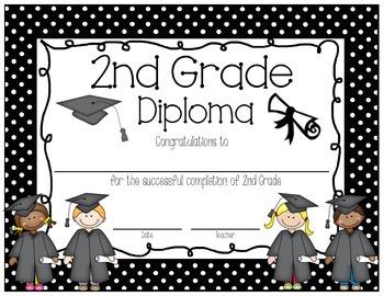 Polka Dot 2nd Grade Diploma English AND Spanish