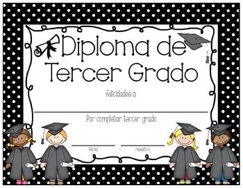 Polka Dot 3rd Grade Diploma English AND Spanish