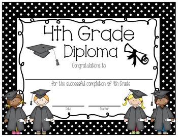 Polka Dot 4th Grade Diploma English AND Spanish