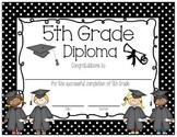 Polka Dot 5th Grade Diploma English AND Spanish