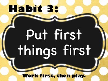 Polka Dot 7 Habits Poster (Leader in Me) Manuscript