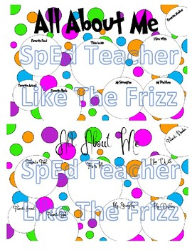 Polka Dot ALL ABOUT ME Poster- Dr. Seuss inspired font