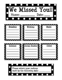 Polka Dot Absent Student Make Up Work Sheet