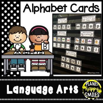 Alphabet Letter and Beginning Sound Picture Matching ~ Polka Dot B/W